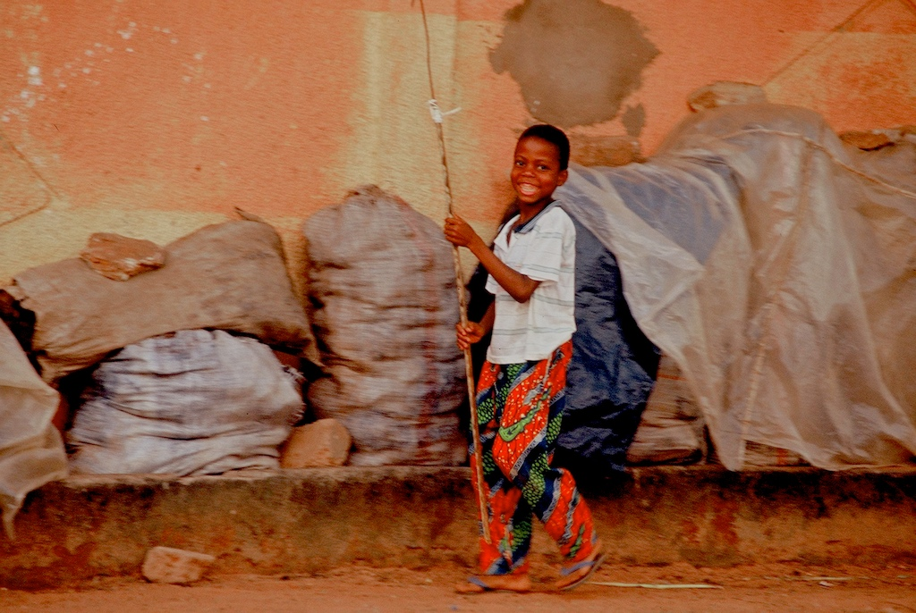 Benin-young boy walking