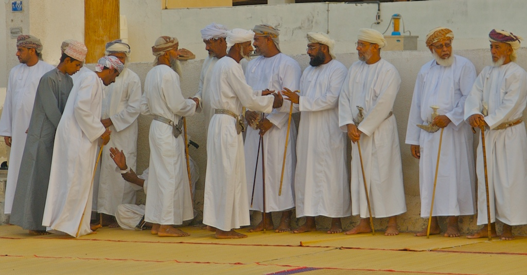 Omani wedding-village men meet groom