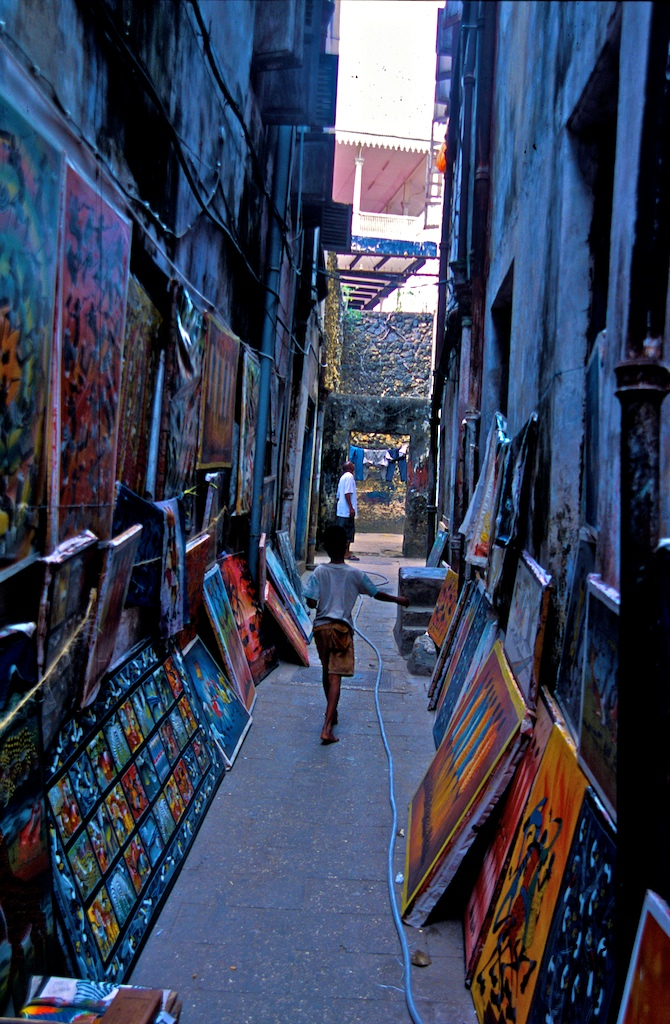Zanzibar-boy and paintings